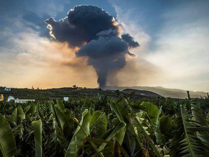 Nuvem provocada pelo vulcão Cumbre Vieja.