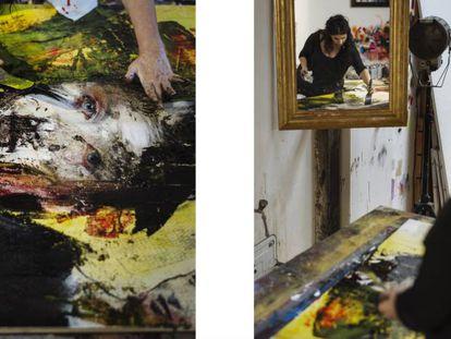Lita Cabellut trabalhando em suas obras em seu ateliê.