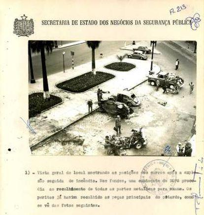 Explosão ocorrida dentro de um carro Aero Willys estacionado no Largo General Osório, em frente a sede do Departamento de Ordem Política e Social (DOPS-SP).