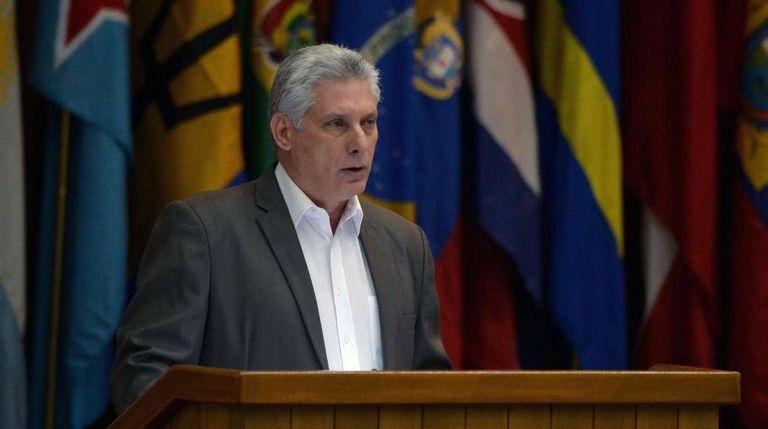 O presidente de Cuba, Díaz-Canel, nesta terça-feira em Havana