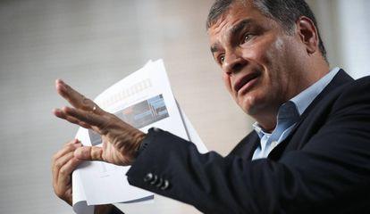 O ex-presidente do Equador, Rafael Correa, durante uma entrevista em Bruxelas, em outubro de 2019.