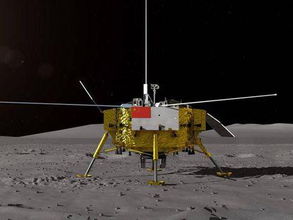Recriação da nave Chang'e 4 na Lua. No vídeo, animação de como foi a alunissagem.