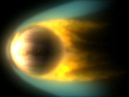 O vento solar, interagindo com a atmosfera de Vênus.