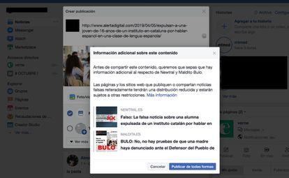 O aviso do Facebook quando se tenta compartilhar um link identificado como mensagem falsa.