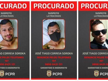 Imagens de José Tiago Correia Soroka usadas pela polícia nas buscas.