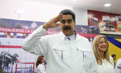 Maduro e a primeira dama, Cilia Flores.