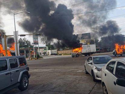 A cidade de Culiacán durante os confrontos.