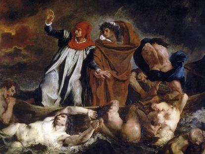 Virgilio guia Dante pelo inferno em 'A barca de Dante', de Eugene Delacroix (1822).