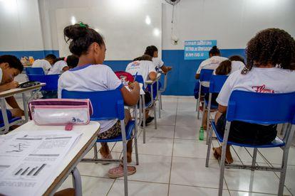 Alunos da rede municipal de ensino de Oeiras, no Piauí, antes da pandemia. Hoje, ensino é à distância.