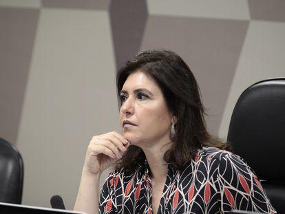 A senadora Simone Tebet na CCJ do Senado em 5 de fevereiro de 2020.