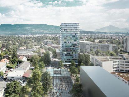 Torre de apartamentos e escritórios em Genebra, o último projeto até agora de Lacaton & Vassal. Nele, os arquitetos puderam aplicar suas ideias a partir do zero, sem precisar remodelar o edifício.