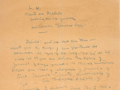 Carta de Miguel Hernández a Neruda sobre cuja autenticidade desperta dúvidas.