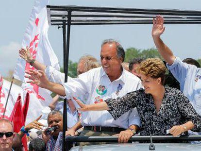 Dilma e Pezão em campanha pelo Rio.