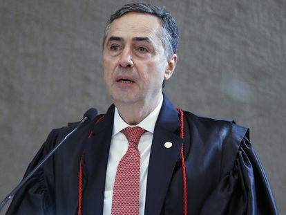 O ministro Roberto Barroso em seu discurso de posse como presidente do Tribunal Superior Eleitoral.