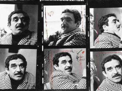 Folha de contatos da sessão fotográfica de García Márquez em 1966