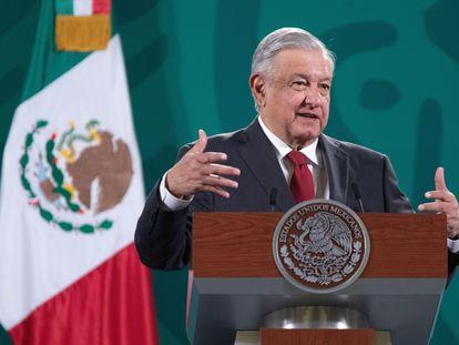 O presidente Andrés Manuel López Obrador, em coletiva de imprensa nesta segunda-feira.