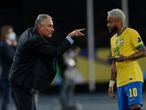 Brazil's coach Tite gives instructions to Neymar during a Copa America soccer match against Peru at Nilton Santos stadium in Rio de Janeiro, Brazil, Thursday, June 17, 2021. (AP Photo/Silvia Izquierdo)