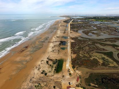 Erosão provocada pelo temporal Emma em 2018 na praia de Camposoto (Cádiz).