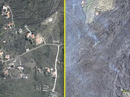 O antes e o depois da erupção catastrófica do vulcão de La Palma