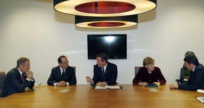 Tusk, Hollande, Cameron, Merkel e Renzi, na semana passada em uma reunião prévia à cúpula da UE sobre a crise ucraniana.