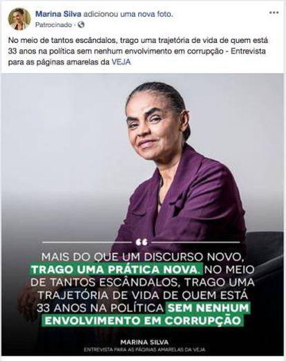 Post patrocinado na página de Marina Silva.