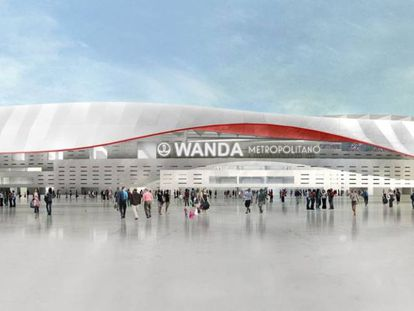 Imagem virtual do Wanda Metropolitano, o novo estádio do Atlético de Madrid.