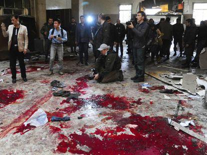O Palácio da Justiça de Damasco, depois do atentado suicida desta quarta-feira.
