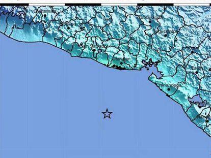 O epicentro do terremoto, segundo o Serviço Geológico de EEUU.