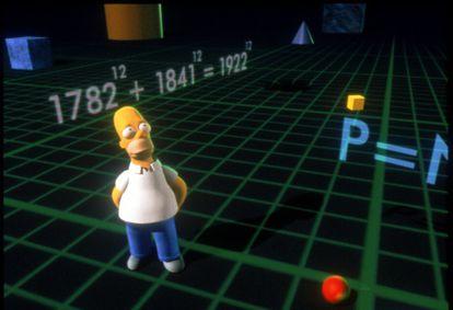 Homer, rodeado por um contraexemplo do Teorema de Fermat.