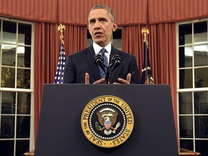 Obama em seu discurso televisionado à nação.