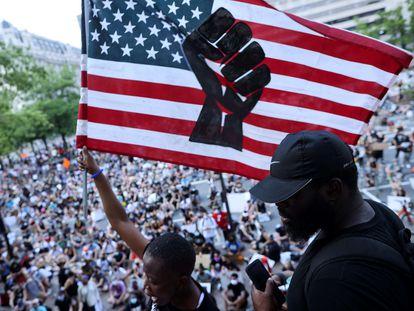 Um protesto em Washington contra a violência dirigida aos afro-americanos.