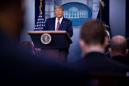 Donald Trump durante seu discurso na Casa Branca nesta quinta-feira.