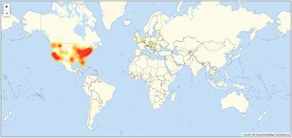 Mapa com os pontos do planeta com problemas de acesso, segundo o site especializado Downdetector.