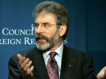 Imagem de arquivo do presidente do Sinn Féin, Gerry Adams, preso pelo assassinato de Jean McConville em 1972.