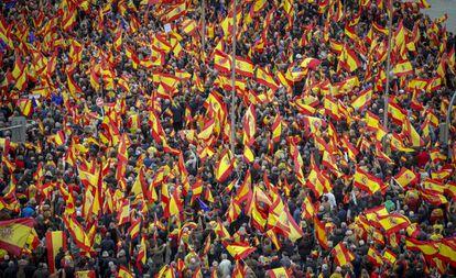 Manifestação convocada pelos partidos da direita espanhola, em fevereiro deste ano.