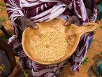 Para paliar la erosión de las tierras por el agua de lluvia, se intentan recuperar con distintos métodos, como instalar cordones de piedras o plantar semillas de ciclo corto de sorgo y mijo. Imagen en Lehneikaat, en los alrededores de Nema (Mauritania).