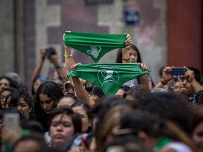 Um protesto a favor do aborto em Cidade de México.J.