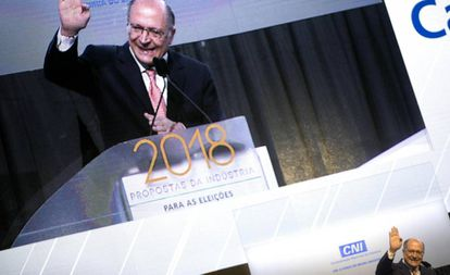 Alckmin fala em evento da CNI, em Brasília, no dia 4 de julho.