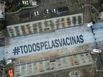 "The phrase ""All For Vaccines"" is seen on Sao Paulo's Sambadrome as carnival celebrations were cancelled due to the coronavirus disease (COVID-19) pandemic in Sao Paulo, Brazil February 13, 2021. Picture taken with a drone. REUTERS/Amanda Perobelli"