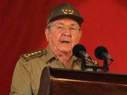 Castro durante seu discurso no 55º aniversário da revolução.