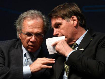 O ministro Paulo Guedes e o presidente Jair Bolsonaro, no dia 11, no Rio.