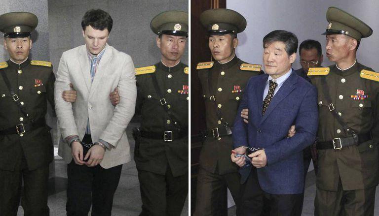 Imagem de arquivo de dois norte-americanos presos pelo regime de Pyongyang: Otto Warmbier e Kim Dong-chul. Um terceiro cidadão, Kim Sang-duk, foi detido neste mês de abril.