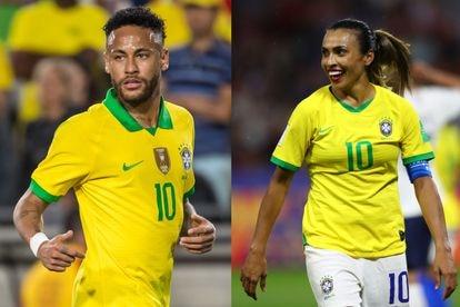Neymar, durante um jogo em Los Angeles, em 2019; e Marta, durante a Copa do Mundo de Futebol Feminino da França.