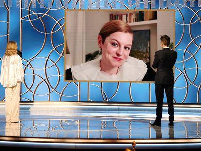 Emma Corrin, durante seu discurso de agradecimento pelo prêmio de melhor atriz principal em série dramática por 'The Crown', em 1º de março de 2021.