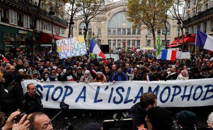 Manifestação contra a discriminação aos muçulmanos, em novembro de 2019 em Paris.