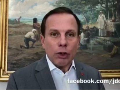O prefeito de São Paulo, João Doria, em vídeo divulgado hoje.
