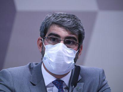 Paulo Roberto Vanderlei Rebello Filho, diretor-presidente da Agência Nacional de Saúde Suplementar (ANS), durante a sessão da CPI desta quarta-feira.