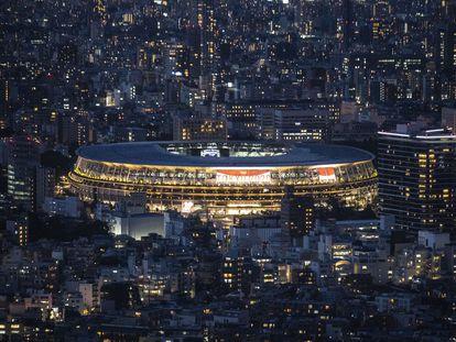 Panorâmica externa do Estádio Nacional de Tóquio.