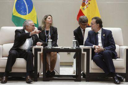 Michel Temer e Mariano Rajoy durante encontro bilateral realizado em 5 de setembro na cidade chinesa de Hangzhou