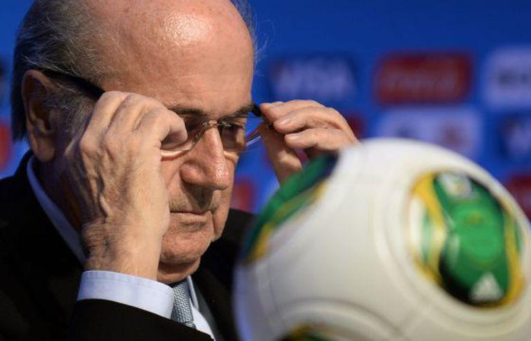 Blatter, presidente da FIFA, na coletiva de imprensa.